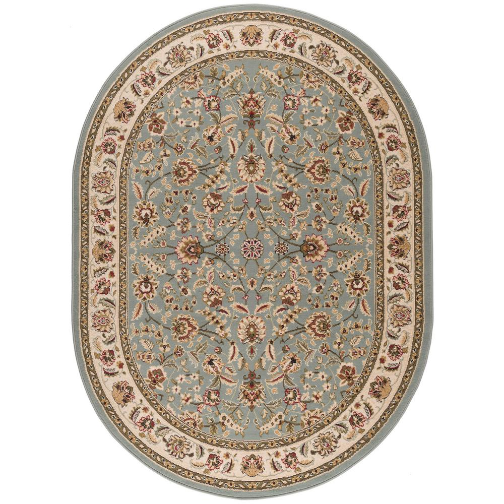 Tayse Rugs Laguna Blue 5 Ft. 3 In. X 7 Ft. 3 In. Oval