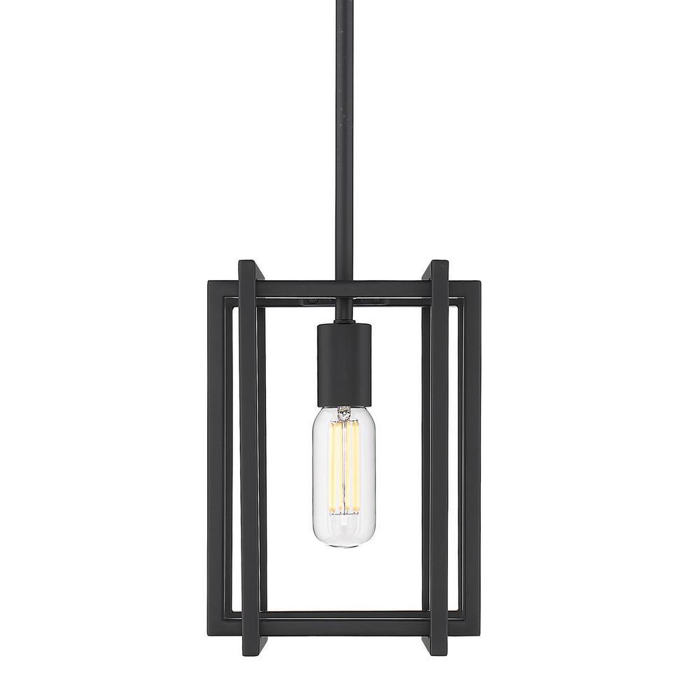 Tribeca 1-Light Black with Black Accents Mini Pendant
