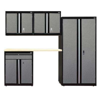 72 in. H x 96 in. W x 18 in. D Modular Garage Welded Steel Storage System in Black/Multi-Granite (5-Piece)