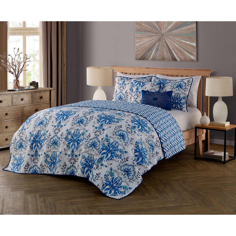 Tabitha 5-Piece Blue Queen Quilt Set