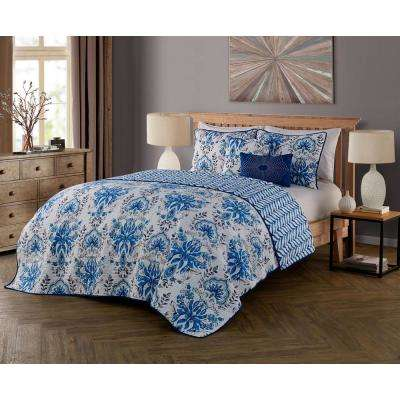Tabitha 5-Piece Blue Queen Quilt Set