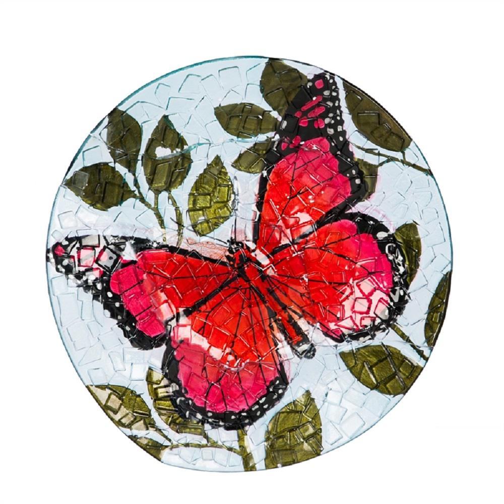 Butterfly 18 in. Crushed Glass Look Birdbath