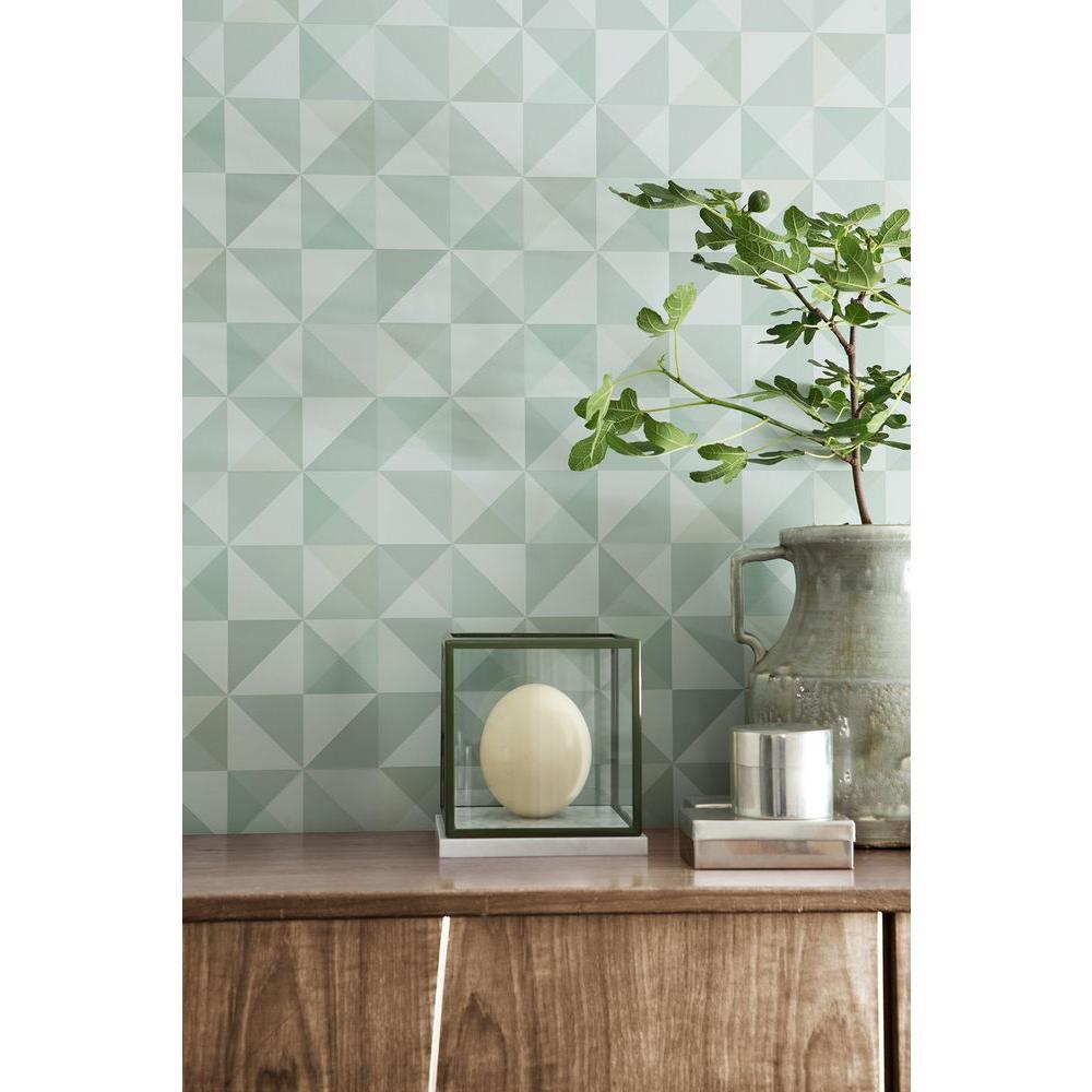 Dabria Green Geometric Wallpaper Sample