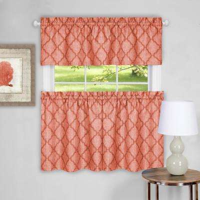 Colby Orange Polyester Tier and Valance Curtain Set - 58 in. W x 24 in. L