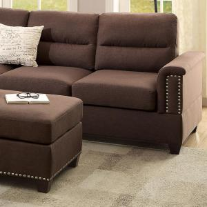 Naples 3-Piece Sectional Sofa in Chocolate with Ottoman