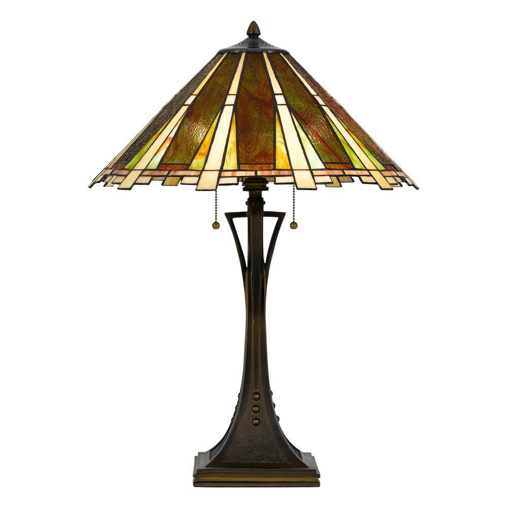 Cal Lighting 28 In Bark Bronze Metal Table Lamp With