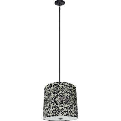 5-Light Ebony Bronze Chandelier with White Decadence Fabric Shade