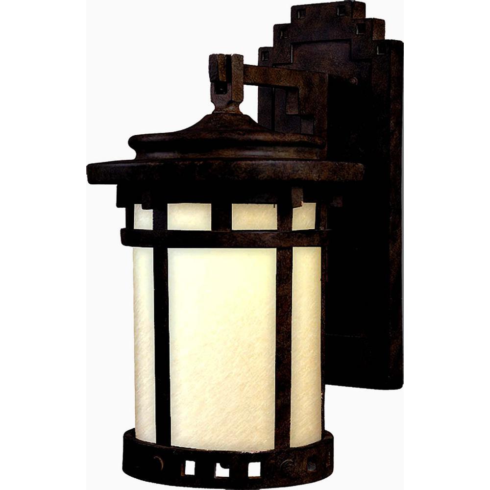 Santa Barbara 9 in. W 1-Light Sienna Outdoor Wall Lantern Sconce
