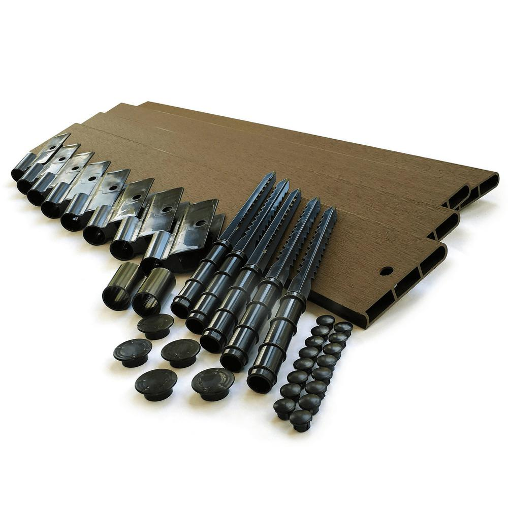 Frame It All 1 in. Series 16 ft. Uptown Brown Composite Straight Landscape Edging Kit