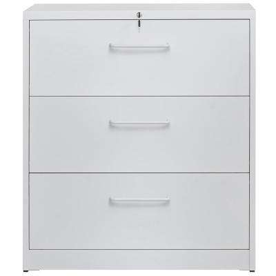 White Lockable Heavy Duty Lateral File Cabinet with 3-Drawers