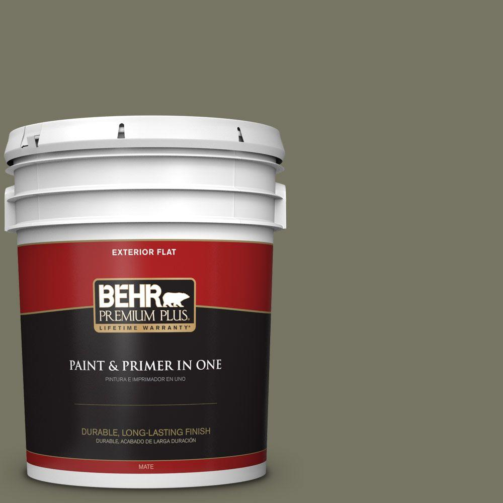 BEHR Premium Plus 5-gal. #N350-6 Peppergrass Flat Exterior Paint