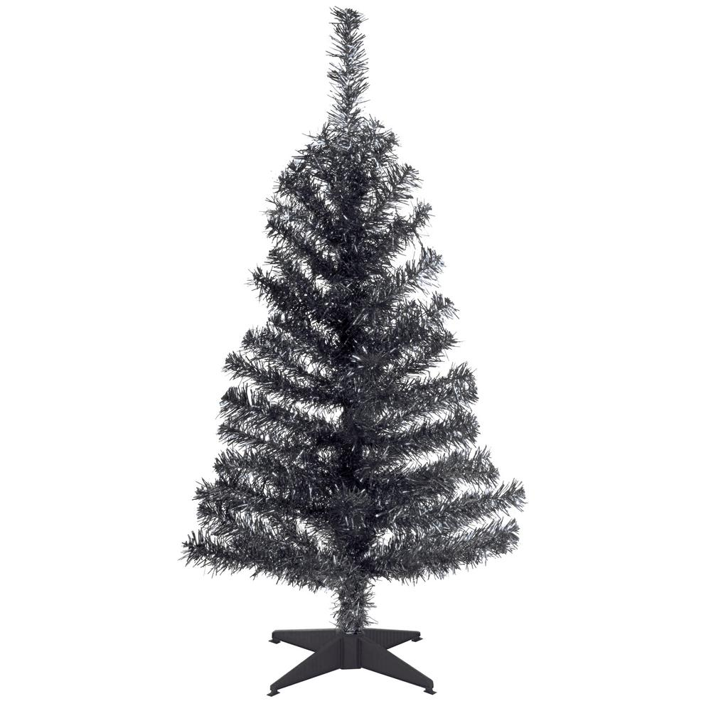 Black Tinsel Artificial Christmas Tree National Tree