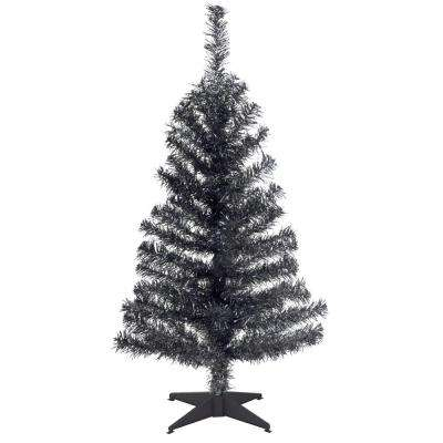 3 ft. Black Tinsel Artificial Christmas Tree