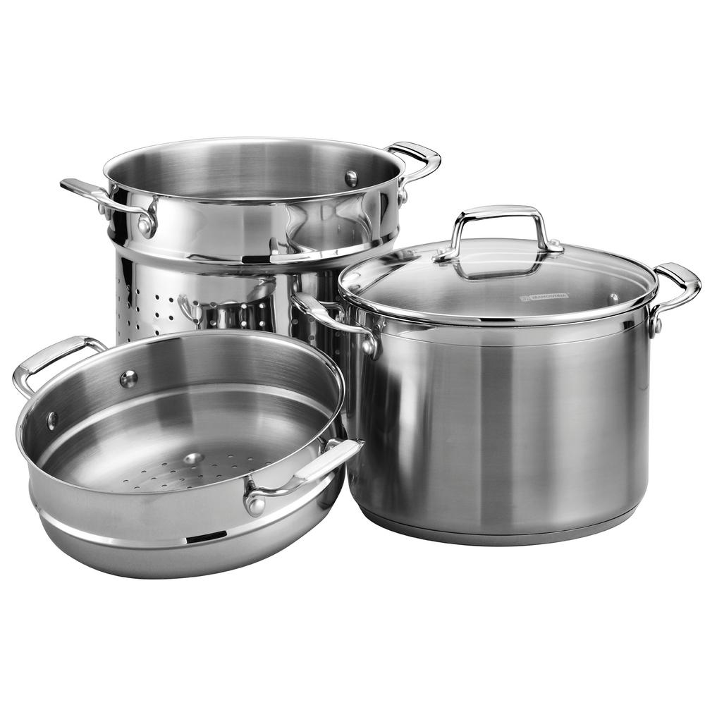 Gourmet 4 Piece Stainless Steel Cookware Set With Lids, Silver/mirror Polished