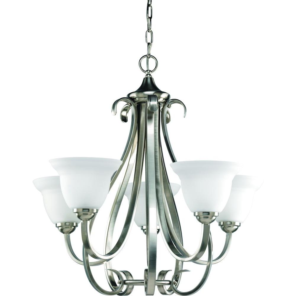 Progress Lighting Torino 5 Light Brushed Nickel Chandelier With Etched Gl