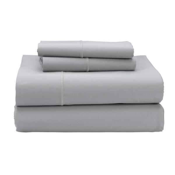 Classic Solid 4-Piece Platinum 350 Thread Count Cotton Sateen Queen Sheet Set
