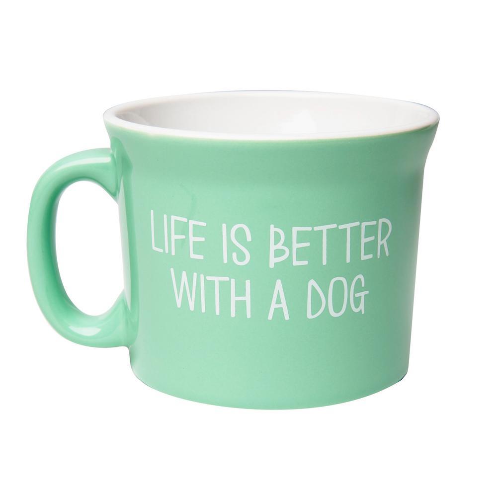Dog Life is Better 20 oz. Mint-White Ceramic Coffee Mug