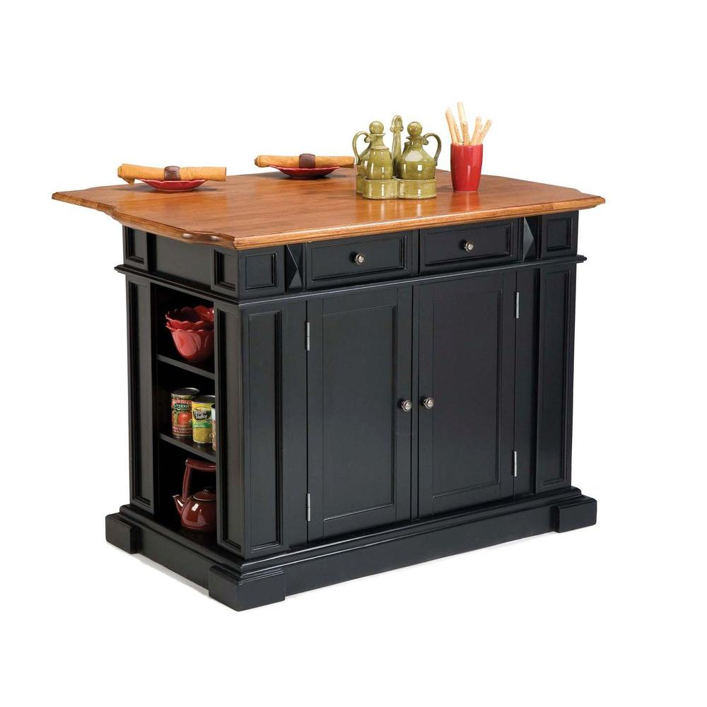 Home Styles Americana Black Kitchen Island With Drop Leaf 5003 94 The Home Depot