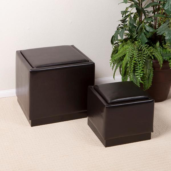 Awe Inspiring Barker Brown Bonded Leather Nesting Storage Ottoman Set Of 2 Alphanode Cool Chair Designs And Ideas Alphanodeonline