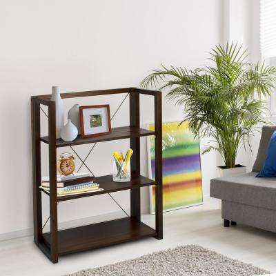 Citiscape Warm Brown 3-Shelf Folding/Stacking Bookcase