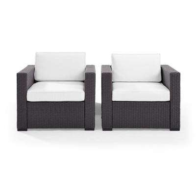 Biscayne 2 Piece Wicker Outdoor Seating Set with White Cushions