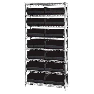 Giant Open Hopper 36 in. x 14 in. x 74 in. Wire Chrome Heavy Duty 8-Tier Industrial Shelving Unit