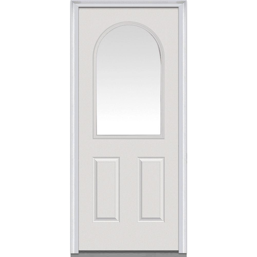 36 in. x 80 in. Clear Right-Hand 1/2 Lite Round Top