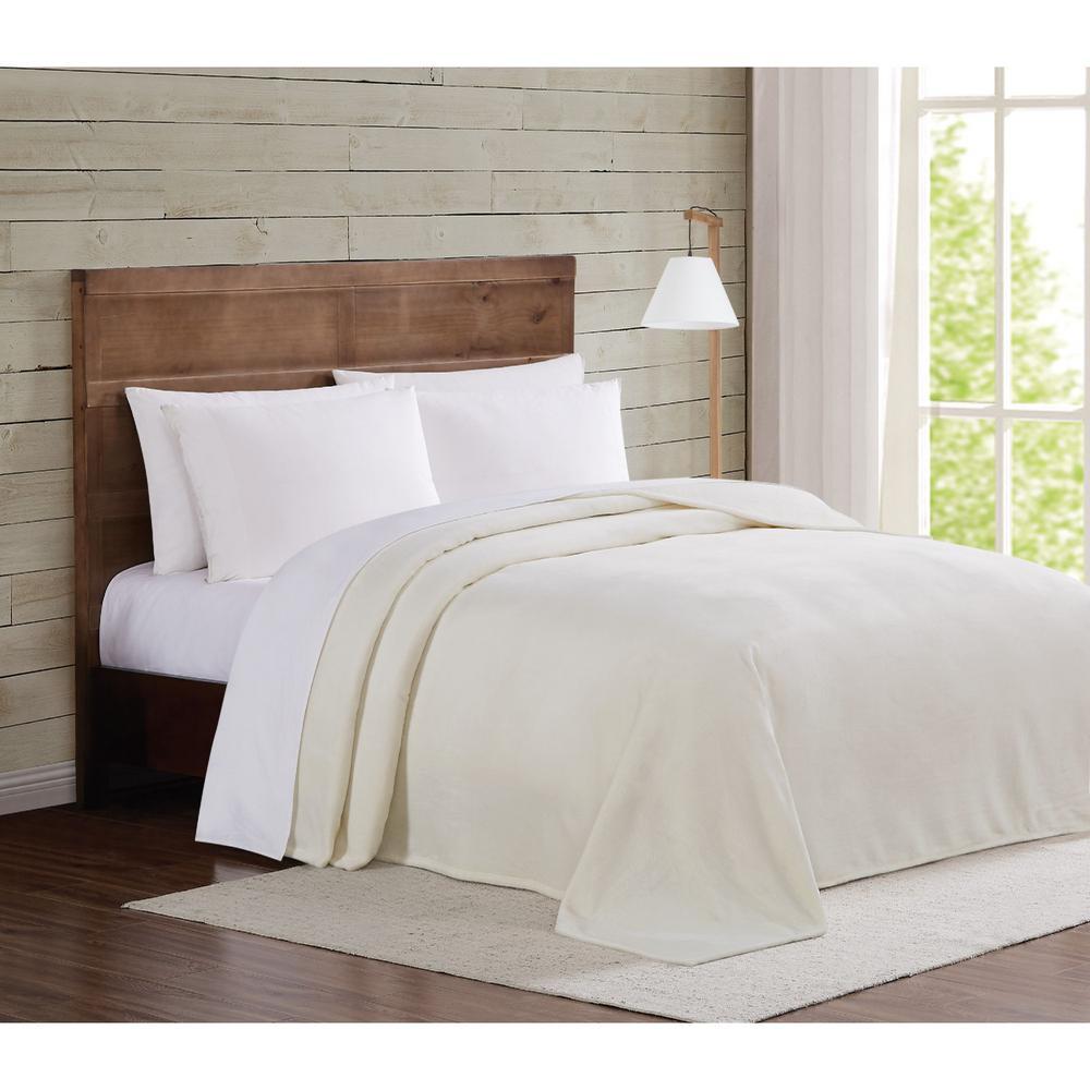 Ivory Velvet Plush Twin XL Blanket