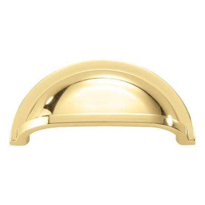 Williamsburg Collection 3 in. (76 mm) Polished Brass Cabinet Door and Drawer Cup Pull (10-Pack)