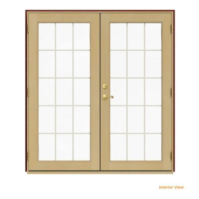 JELD-WEN 72 in. x 80 in. W-2500 Red Clad Wood Left-Hand 15 Lite French Patio Door w/Unfinished Interior, Mesa Red