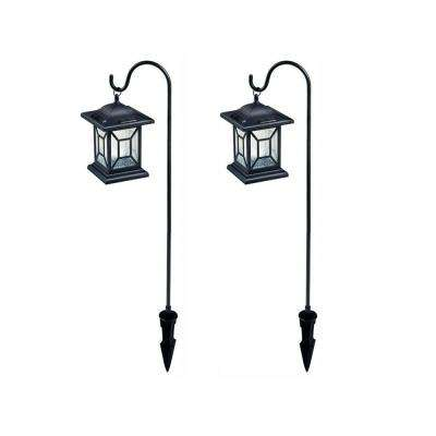 Solar Black Outdoor Integrated LED Diamond Shepard Hook Lantern Landscape Path Light  (2-Pack)