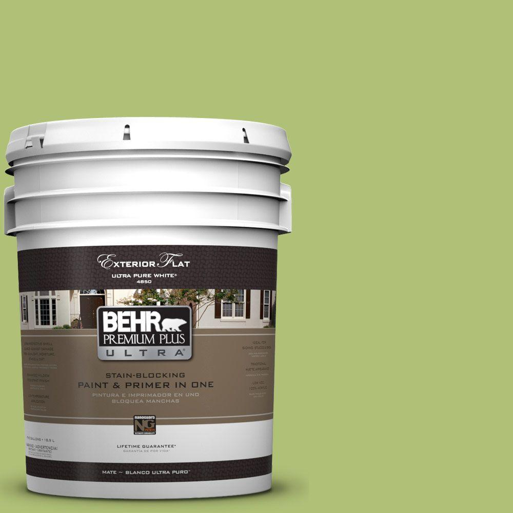 BEHR Premium Plus Ultra 5-gal. #HDC-SM14-5 Lavish Lime Flat Exterior Paint