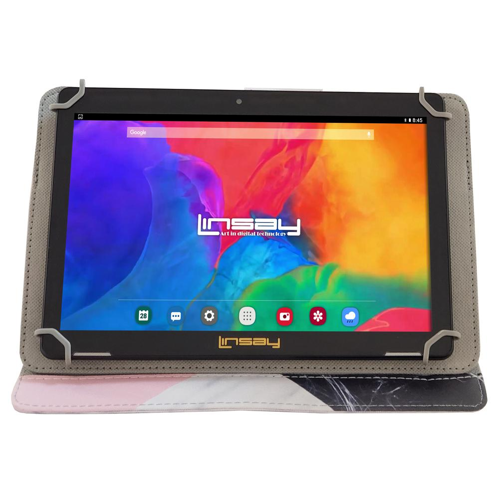 LINSAY 10.1 in. 1280x800 IPS 2GB RAM 16GB Android 9.0 Pie Tablet with Black White Pink Shape Marble Case was $324.99 now $79.99 (75.0% off)