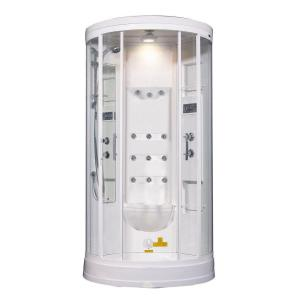 Aston ZA218 40 inch x 40 inch x 88 inch Steam Shower Enclosure Kit in White with 12 Body Jets by Aston