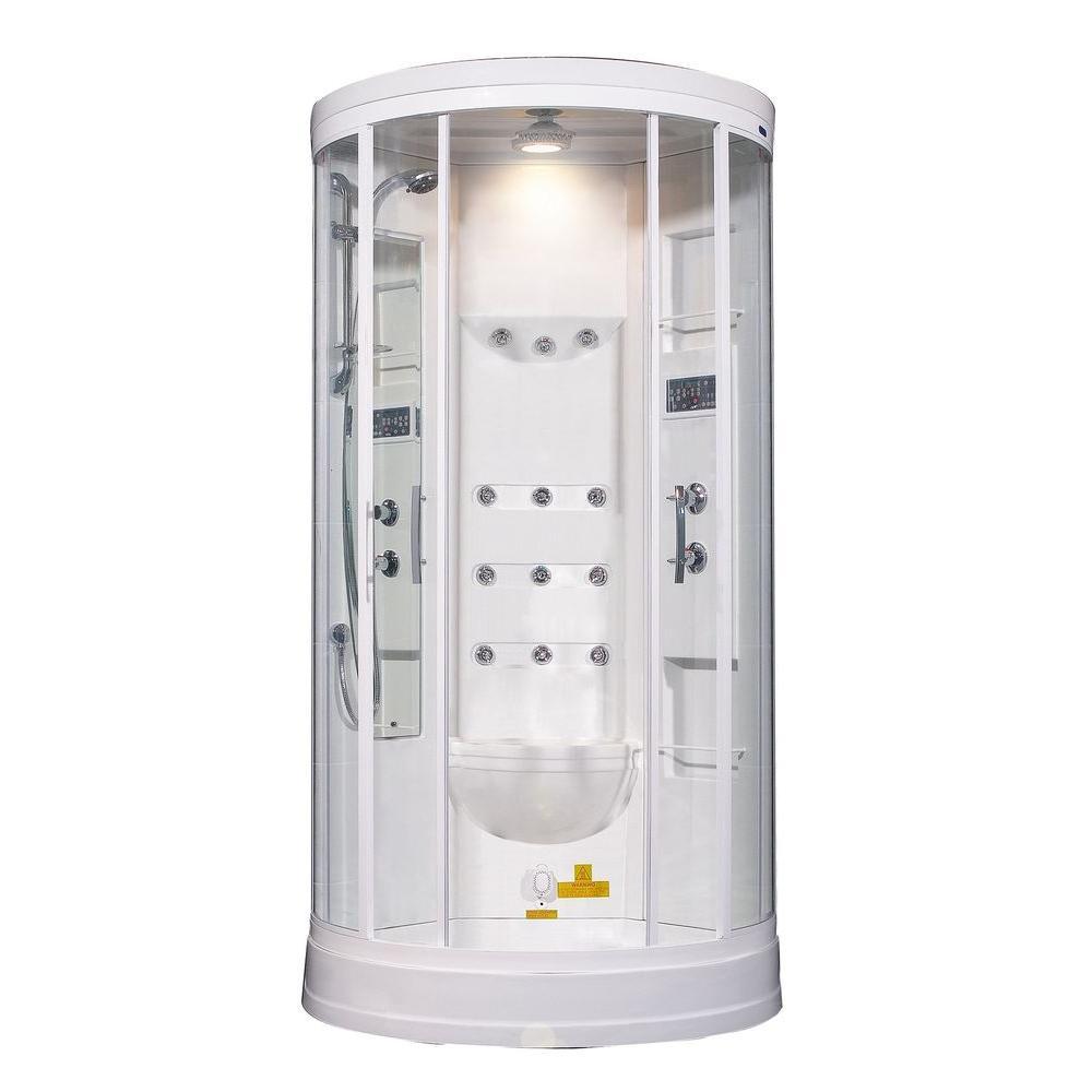 ZA218 40 in. x 40 in. x 88 in. Steam Shower Enclosure Kit in White with 12 Body Jets
