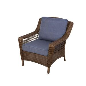 Hampton Bay Spring Haven Brown All-Weather Wicker Patio Lounge Chair with Sky Blue... by Hampton Bay