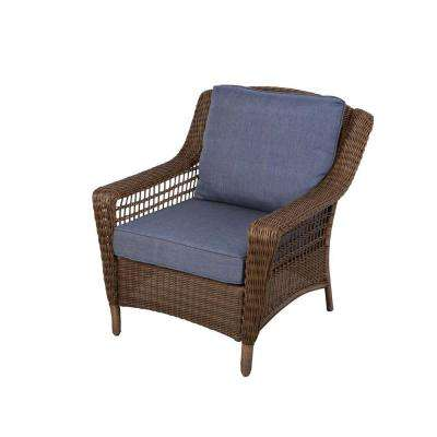 Spring Haven Brown All-Weather Wicker Patio Lounge Chair with Sky Blue Cushions