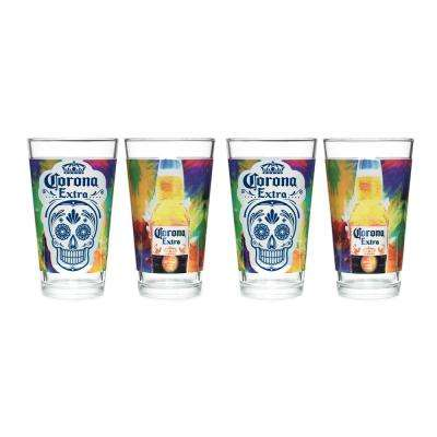 Corona 16 oz. Mixing Glass DOTD Painted (Set of 4)