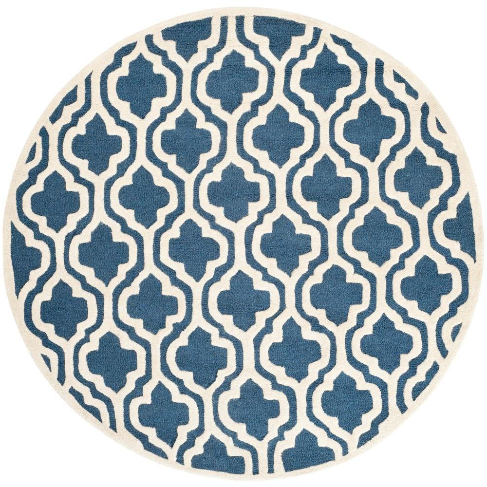 safavieh cambridge navy ivory 4 ft x 4 ft round area rug cam132g 4r the home depot. Black Bedroom Furniture Sets. Home Design Ideas