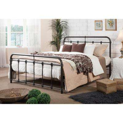mandy vintage industrial black finished metal queen size bed