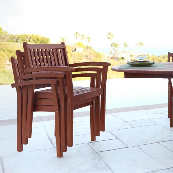 Malibu V1802SET5 Outdoor Patio 3-Piece Dining Set with Stacking Chair Natural Wood