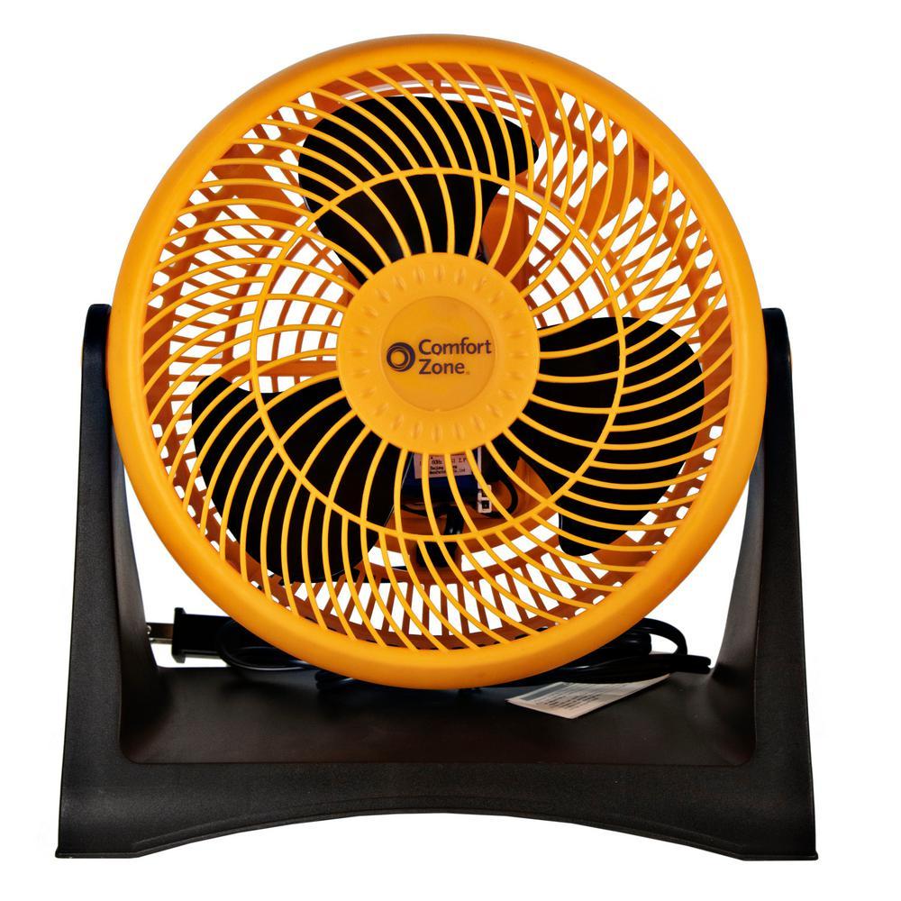 8 in. 3-Speed Turbo Desk Fan with Adjustable Head in Orange