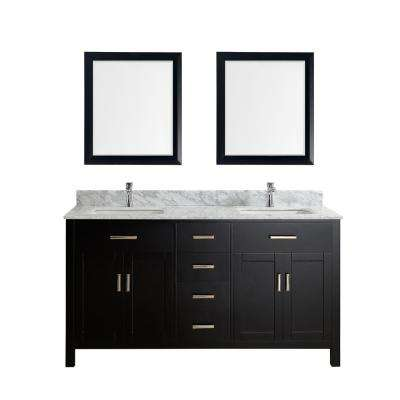 Kalize 63 in. Vanity in Espresso with Marble Vanity Top in Carrara White and Mirror