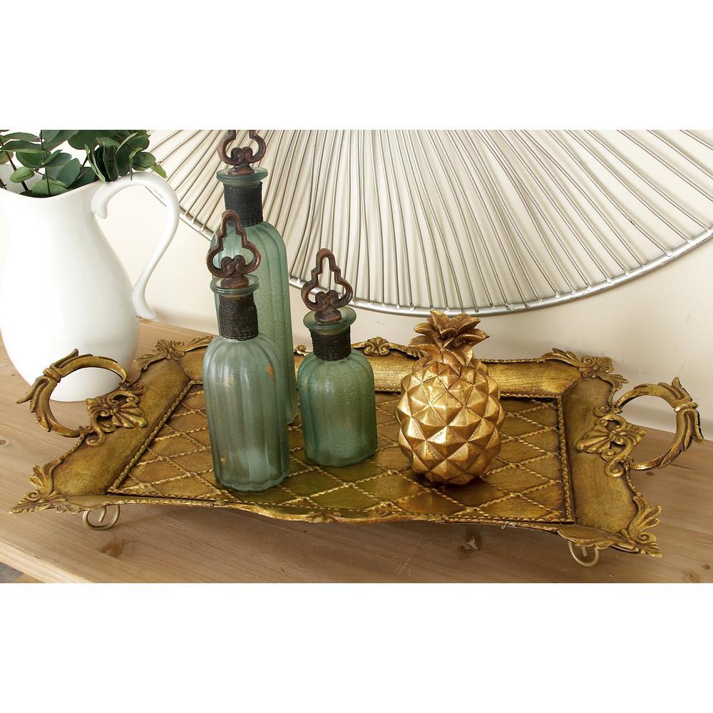 Rustic Gold-Finished Decorative Flourish Tray
