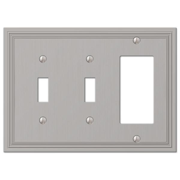 Hallcrest 3 Gang 2-Toggle and 1-Rocker Metal Wall Plate - Satin Nickel