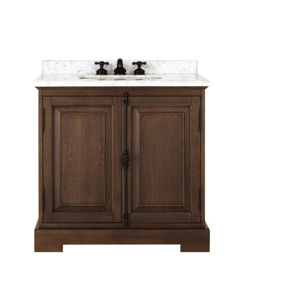 Clinton 36 in. W Single Vanity in Antique Coffee with Natural Marble Vanity Top in White with White Sink