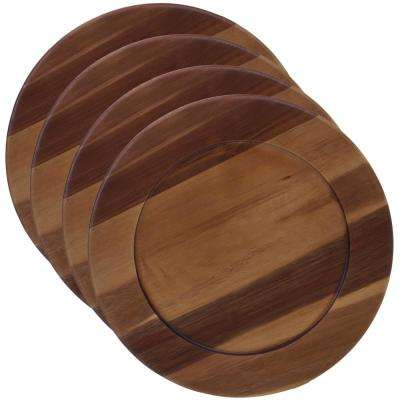 Acacia Wood 4-Piece Brown 13 in. Charger Plate Set