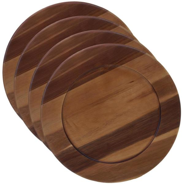 Certified International Acacia Wood 4-Piece Brown 13 in. Charger Plate Set