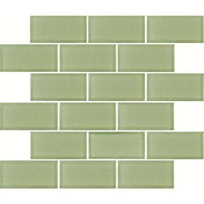Mint Green Subway 12 in. x 12 in. x 8mm Glass Mesh-Mounted Mosaic Tile