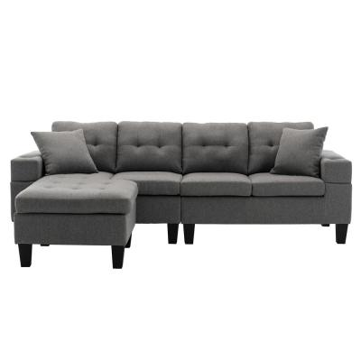Cholena 98 in. Gray Tuxedo Linen 4 Seats L-Shaped Sofa with Convertible Sectional Couch